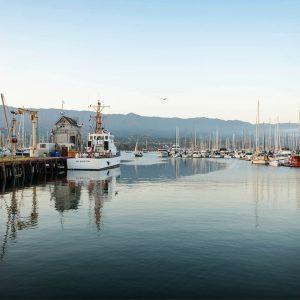 Santa Barbara Harbor at Dusk – postcard
