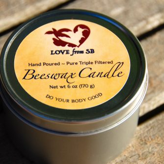 100% Pure Hand Poured Beeswax Candle - Love from Santa Barbara
