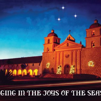 Santa Barbara Mission at Christmas by Santa Barbara Greeting Cards