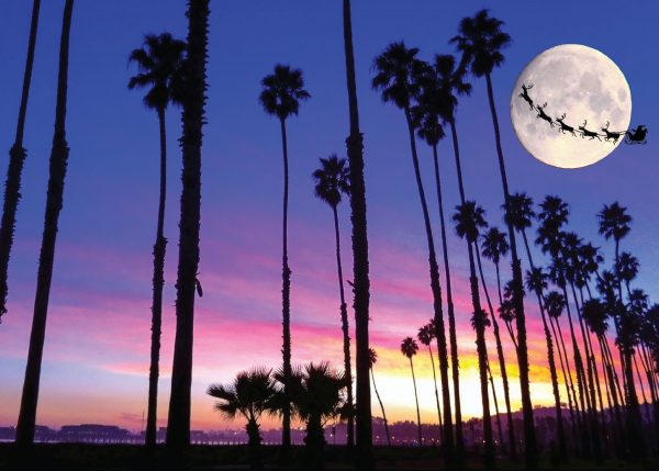 Stearns Wharf at Christmas with sunset, full moon, santa and his reindeer