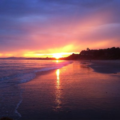 Sunset on the surf, Santa Barbara – Greeting Card