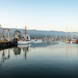 Santa Barbara Harbor at Dusk – postcard