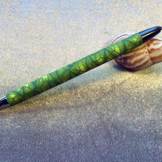 Polymer clay leaf design Papermate pen