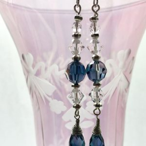 Swarovski long drop earrings - blue and clear crystals