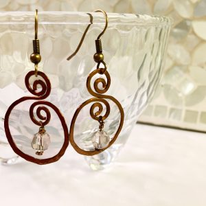 Hammered brass swirl earrings with Swarovski crystals