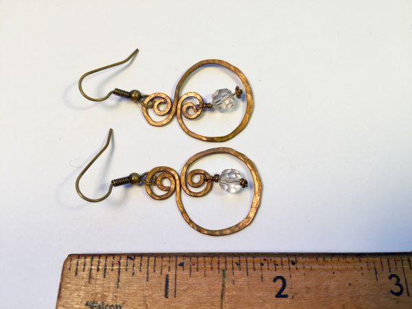 Hammered hoops with Swarovski earrings