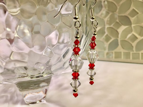 Swarovski drop earrings - red and clear crystals