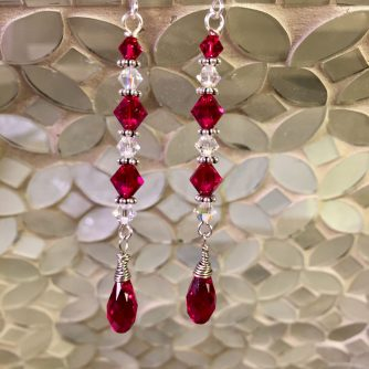 Swarovski long drop earrings - red and clear crystals