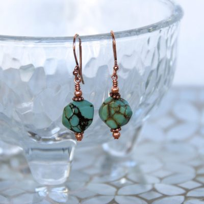 Turquoise nugget and copper earrings