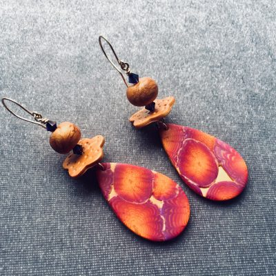 Exotic gold and magenta zinnia earrings