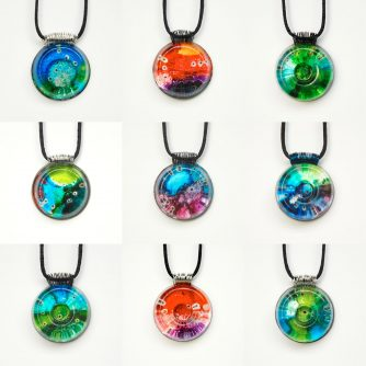 Funk Zone polymer clay pendant necklaces