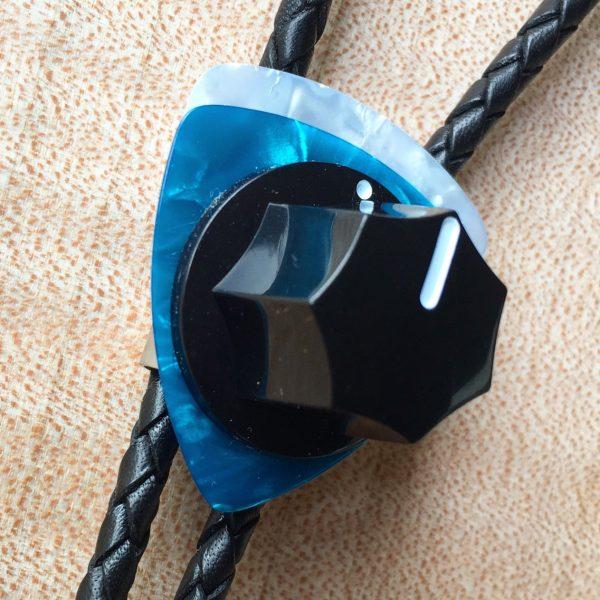 Fender Knob Bolo Tie - Turquoise, White
