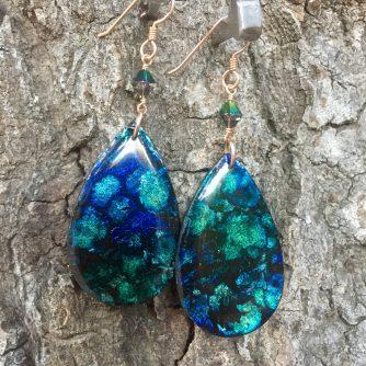 Funk Zone Peacock Teardrop Earrings
