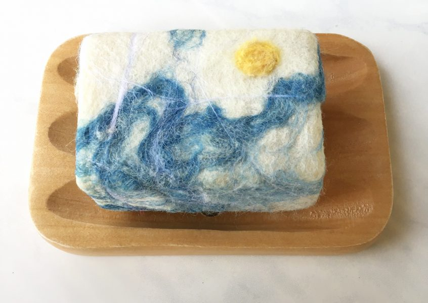 Sun and Waves Felted Soap
