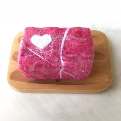 White Heart Felted Soap