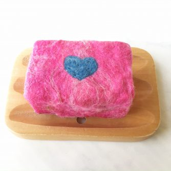 Blue Heart Felted Soap