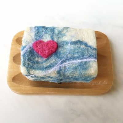 Heart Waves Felted Soap
